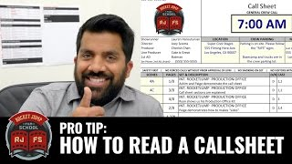 Pro Tip: How To Read A Call Sheet